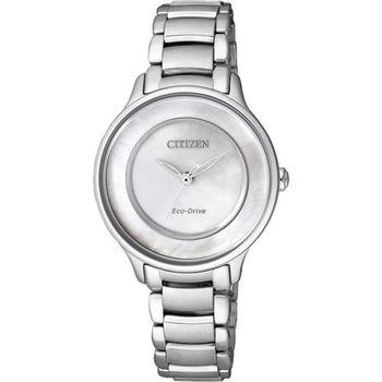 CITIZEN L系列 珍愛時刻光動能女錶-白貝/30mm EM0380-57D