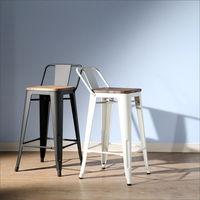 BuyJM LOFT復古風工業風榆木低背吧台椅/餐椅 (2色可選)