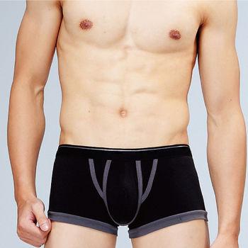 任-男內褲 法國名牌 萊卡時尚立體平口褲 黑色