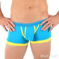 任-男內褲 法國名牌 萊卡時尚立體平口褲 藍黃色