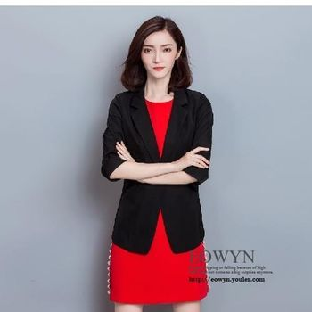 實拍外套女純色修身七分袖時尚氣質顯瘦小西裝白色/黑色/M/L/XL/2XL/3XL