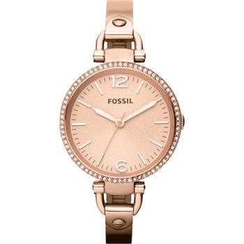 FOSSIL 俏皮女孩晶鑽腕錶-玫塊金/32mm ES3226