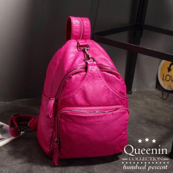 DF Queenin日韓 - 韓版水舞仿皮款單雙肩兩用後背包-共2色