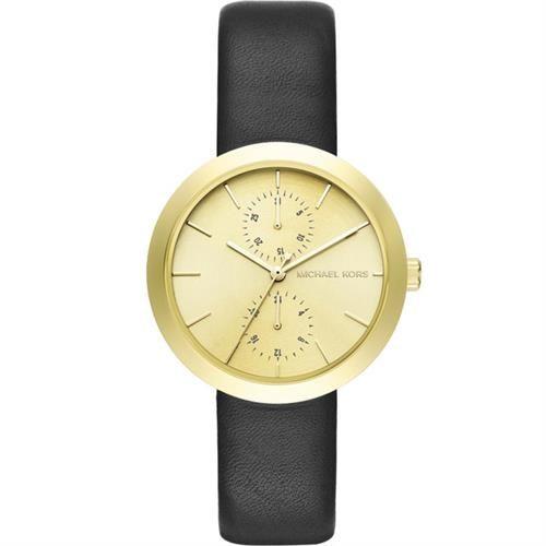 Michael Kors MK 都會日曆腕錶-金x黑/38mm MK2574