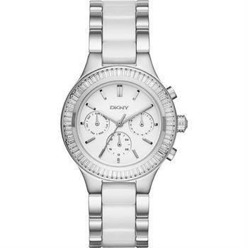 DKNY Ceramic 晶鑽陶瓷日曆腕錶-白x銀/38mm NY2497