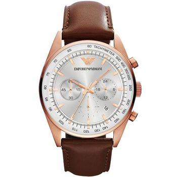 ARMANI Sportivo 專業計時腕錶-銀x玫瑰金框/43mm AR5995