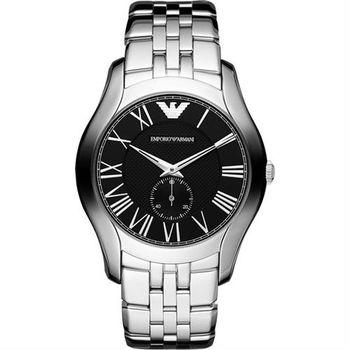 ARMANI 羅馬時尚小秒針腕錶-黑/43mm AR1706