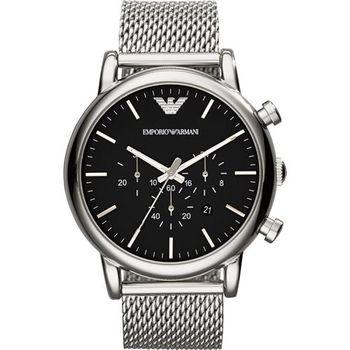 ARMANI Classic 經典風範計時腕錶-黑/46mm AR1808