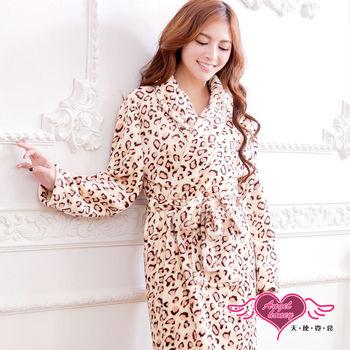 天使霓裳 法蘭絨睡袍 雙口袋綁帶睡衣(黃豹F) AB15908