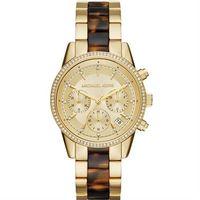 Michael Kors MK Ritz 晶鑽計時錶-金x玳瑁/37mm MK6322