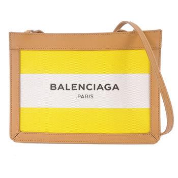 【BALENCIAGA】NAVY款帆布雙色條紋方形斜背包(米黃)