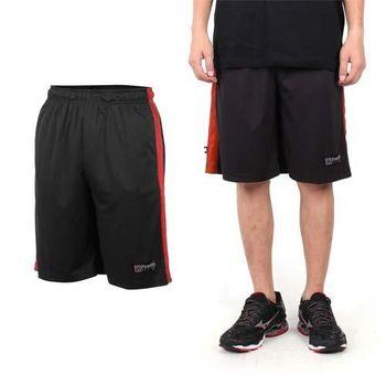 【FIRESTAR】男籃球褲-運動短褲 五分褲 休閒短褲 黑紅 彈性鬆緊帶附拉繩