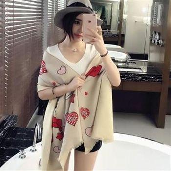 【米蘭精品】圍巾羊毛絨長披肩可愛時尚蘋果愛心圍脖3色73hy29