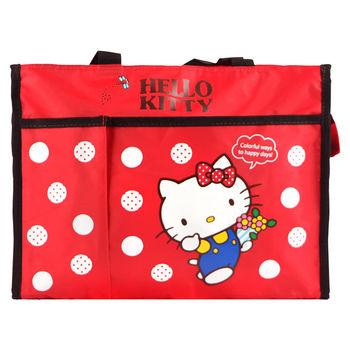 Hello Kitty 橫式手提/側背補習袋/才藝袋-紅色