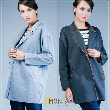 MONS撞色休閒長版西裝外套