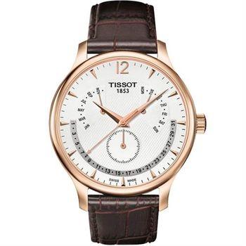 TISSOT Tradition 逆跳復刻經典腕錶-白/42mm T0636373603700