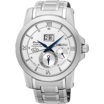 SEIKO 精工 Kinetic 萬年曆大視窗腕錶-銀/41mm 7D48-0AR0S(SNP133J1)