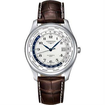 LONGINES 浪琴表巨擘系列世界時區腕錶-白x咖啡/42mm L28024703