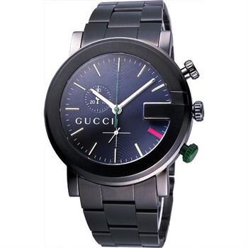 GUCCI G chrono 頂尖時尚計時碼錶-IP黑/43mm YA101331