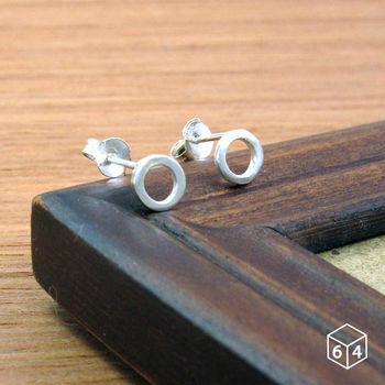 ART64 圓圈耳環 方線甜甜圈 耳環 純銀圓形耳環