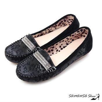 莎曼莎手工鞋【MIT全真皮】悠閒主張--牛麂皮印花莫卡辛休閒便鞋 -#15107 經典黑