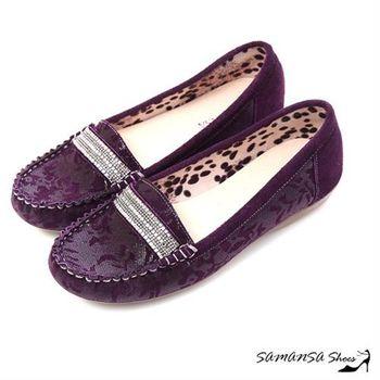莎曼莎手工鞋【MIT全真皮】悠閒主張--牛麂皮印花莫卡辛休閒便鞋 -#15107 優雅紫