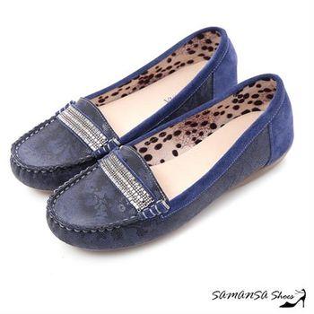 莎曼莎手工鞋【MIT全真皮】悠閒主張--牛麂皮印花莫卡辛休閒便鞋 】-#15107 質感深藍