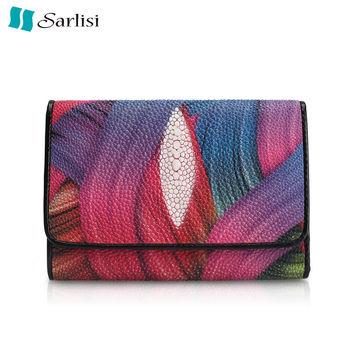 【Sarlisi】時尚典雅珍珠魚皮短夾(2款任選)