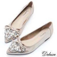 【Deluxe】全真皮珍珠蝴蝶結水鑽尖頭包鞋(金-灰)-928-B