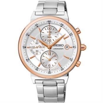 SEIKO 夏日協奏曲三眼計時腕錶-銀x玫塊金框/36mm 7T92-0RS0K(SNDW48P1)