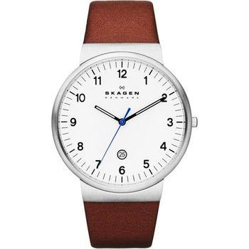 SKAGEN 都會時尚大三針石英腕錶-白x咖啡/40mm SKW6082