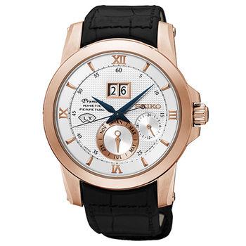 【SEIKO 精工】Kinetic 羅馬錶盤萬年曆大視窗皮帶腕錶(41mm/7D48-0AR0P)