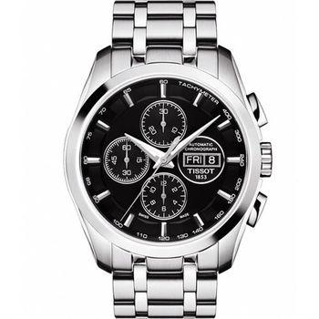 TISSOT 天梭 建構師三眼計時機械腕錶-黑/43mm T0356141105101