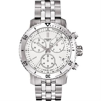 TISSOT 天梭 PRS 200系列三眼計時腕錶-白/42mm T0674171103101
