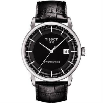 TISSOT 天梭 LUXURY 動力儲存80機械腕錶-黑/41mm T0864071605100