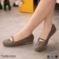 【TW Shoes】素色麂皮金屬綴飾樂福鞋【K130A3051】