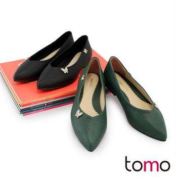 【TW Shoes】時尚水鑽蝴蝶結綴飾V口尖頭低跟包鞋【K120BE0003】