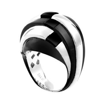 【Jewelrywood】純銀黑白線條幾何黑瑪瑙戒指