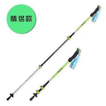 PUSH! 戶外登山用品耐磨精製鎢鋼杖尖+鎖緊系統的3節伸縮式登山杖(1入)男款草綠P90