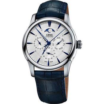 Oris Artelier 藝術家月相盈虧腕錶-銀x藍/40.5mm 0178177034031-0752175FC