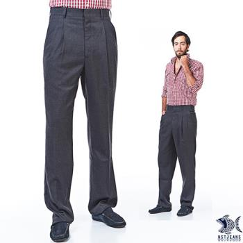 【NST Jeans】002(8893) 英倫紳士灰 羊毛打摺西裝褲(中高腰寬版) 打摺西褲/斜口袋/灰色西褲/羊毛