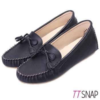 TTSNAP莫卡辛-MIT蝴蝶結流蘇內增高豆豆鞋 共三色(黑/白/米)