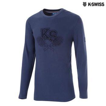 K-Swiss Graphic LS Tee印花長袖T恤-男-單寧藍