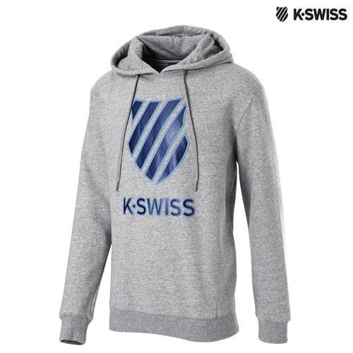 K-Swiss Logo Hoodie印花連帽上衣-男-炭灰