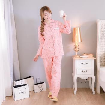 【MFN蜜芬儂】甜蜜小熊純棉薄長袖居家睡衣(粉橘)