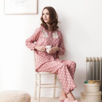 【MFN蜜芬儂】心樂園純棉薄長袖居家睡衣(粉橘)