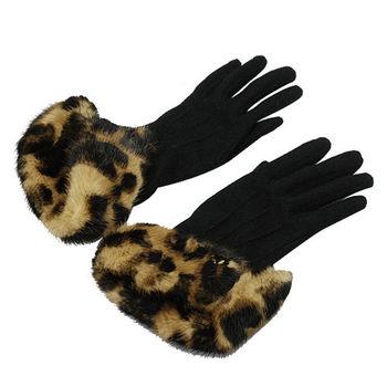 LV M72458 豹紋貂毛皮草飾邊手套(黑)