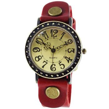 【BOBO】復古哥德式精刻中性錶-紅