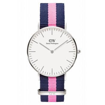 DW Daniel Wellington 經典藍粉紅帆布時尚女錶-銀框/36mm(0604DW)