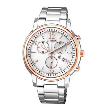 【CITIZEN 星辰】xC 自信魅力光動能三眼計時腕錶(38mm/FB1434-50A)